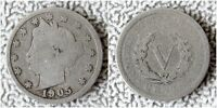 1905 LIBERTY HEAD V NICKEL, BUY 5 COINS GET $2 CASH  - SHIPS FREE , 01