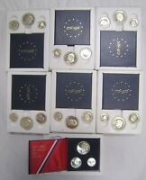 LOT OF 7 1776 1976 BICENTENNIAL 40 SILVER PROOF SET W/ SLIPCASES