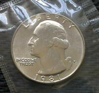 1981 P,D WASHINGTON QUARTER