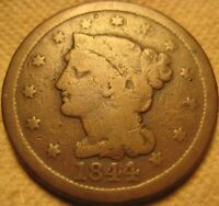 1844/81 BRAIDED HAIR LARGE CENT NICE OVERDATE. POPULAR RED BOOK VARIETY