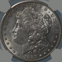 1887 S  MORGAN DOLLAR, NGC AU58, FULL WHITE, SHARPLY DETAILED, TOUGH EARLYDATE