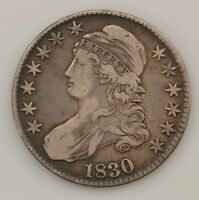 1830 CAPPED BUST LARGE 0 SILVER HALF DOLLAR Q16