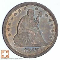 1857 O SEATED LIBERTY SILVER QUARTER XB81