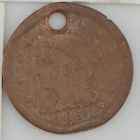 1851 BRAIDED HAIR LARGE CENT HOLE Z44