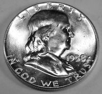 1958 P FRANKLIN SILVER HALF DOLLAR  BRILLIANT WHITE COIN WITH GREAT BELL LINES