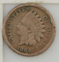 1864 INDIAN HEAD ONE CENT CIVIL WAR DATE Z08
