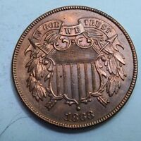 1868 TWO CENT PIECE 2 CENT // GEM UNCIRCULATED BU - RED // TC1433