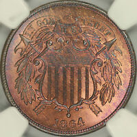 1864 LARGE MOTTO TWO CENT NGC MINT STATE 66RB
