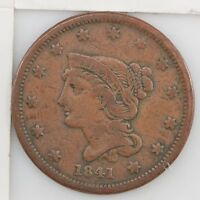 1841 BRAIDED HAIR LARGE CENT Z41