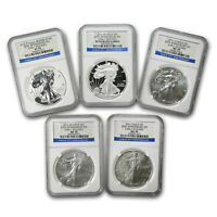 2011 5 COIN SILVER EAGLE SET MS/PF 70 NGC  ER 25TH ANNIV    SKU 66422