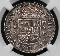 1736 AP SPAIN PHILIP V PISTAREEN 2 REALES SILVER COIN NGC AU55 ALMOST UNC KM 355