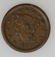 1850 BRAIDED HAIR LARGE CENT. VF CONDITION   I 3292