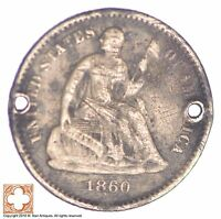 1860 SEATED LIBERTY SILVER HALF DIME CONDITION: HOLES XB01