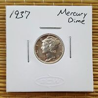 1937 MERCURY DIME AU / BU   BANDS ALMOST COMPLETELY SPLIT GREAT COIN  90 SILVER