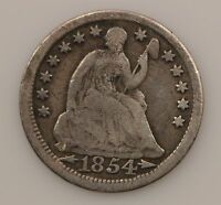 1854 LIBERTY SEATED HALF DIME ARROWS AT DATE G70