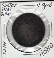 1858 O SEATED LIBERTY HALF DOLLAR HIGH GRADE TONED GOOD TYPE