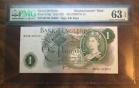 1970   1973 BANK OF ENGLAND ONE POUND BANKNOTE GRADED BY PMG 63 EPQ