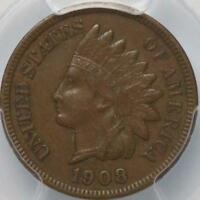 1908 S INDIAN CENT PCGS XF40 SHARPLY DETAILED ORIGINAL BROWN TOUGHER DATE