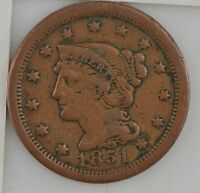 1851 BRAIDED HAIR LARGE CENT Z84