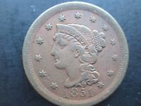 US COINS LARGE CENT CORONET 1851