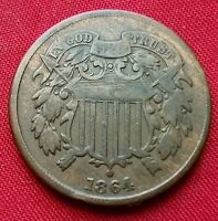 1864 2 CENT PIECE LARGE MOTTO 2CP6