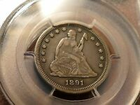 1891 S LIBERTY SEATED QUARTER VF30: LAST YEAR OF ISSUE MINTAGE 2.2 MILLION