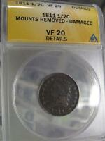 ANACS GRADED VF 20 DETAILS 1811 CLASSIC HEAD HALF CENT