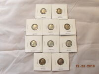 1980   1989  ROOSEVELT DIME PROOF RUN SET 10 US COINS