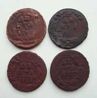 LOT OF 4 RUSSIA DENGA 1741 1747 COPPER COINS S8