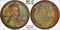 1941 D GREEN TONED LINCOLN CENT   PCGS MS65BN   RETRO OGH & TRUEVIEW