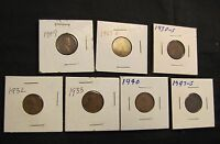 LOT OF 7 LINCOLN WHEAT CENTS - 1909, 1927, 1930-S, 1932, 1933, 1940, 1947-S