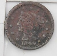 1849 BRAIDED HAIR LARGE CENT Z43