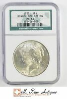 MS63 1922 PEACE SILVER DOLLAR BINION COLLECTION   NGC GRADED 1616