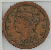 1849 BRAIDED HAIR LARGE CENT Z48