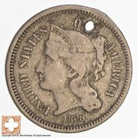 1868 THREE CENT PIECE   COPPER NICKEL CONDITION: HOLE 4265