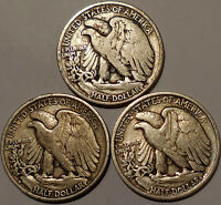 LOT OF 3 LIBERTY WALKING HALF DOLLARS 90 SILVER 1938-P 1940-S 1946-S