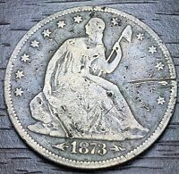 1873 KEY DATE SEATED LIBERTY HALF DOLLAR WITH  ARROWS  90 SILVER LOT 983