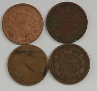 LOT 4 COINS: 1864/1865/1867/1868 TWO CENT PIECES G85