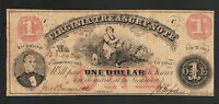 1862 $1 DOLLAR VIRGINIA NOTE CIVIL WAR RELIC OLD VA OBSOLETE CURRENCY BILL MONEY
