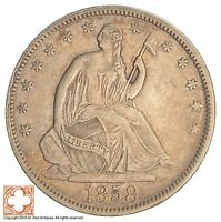 1858 SEATED LIBERTY SILVER HALF DOLLAR SB99