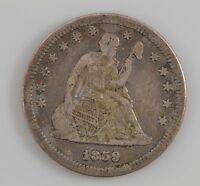 1859 LIBERTY SEATED QUARTER DOLLAR G49