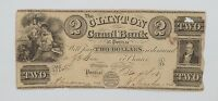 1800'S 1833 $2 OBSOLETE NOTE CLINTON CANAL BANK OF PONTIAC MICHIGAN P29