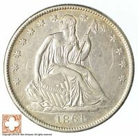 1861 O SEATED LIBERTY SILVER HALF DOLLAR XB41