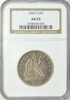 1858 S LIBERTY SEATED HALF DOLLAR NGC AU53 MUCH BETTER DATE