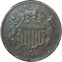 1864 2 CENT PIECE BU  CRAZY DETIALS - LARGE MOTTO - TWO CENT COIN
