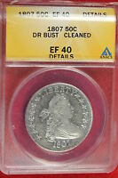 1807 ANACS EF40 DETAILS CLEANED DRAPED BUST HALF DOLLAR B0574