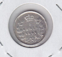 1887 CANADA FIVE CENTS SILVER COIN