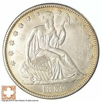 1859 O SEATED LIBERTY SILVER HALF DOLLAR XB44