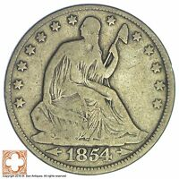 1854 SEATED LIBERTY SILVER HALF DOLLAR XB21