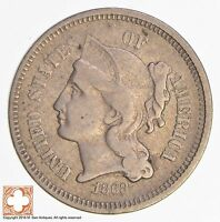 1868 THREE CENT PIECE   COPPER NICKEL 3928